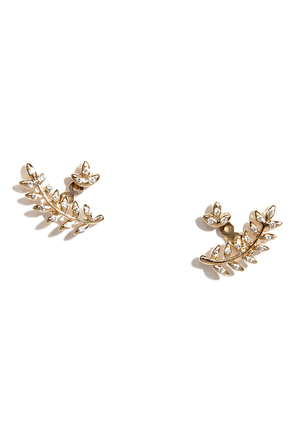 I'll Never Leaf Gold Rhinestone Earrings