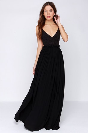 LULUS Exclusive Blooming Prairie Crocheted Black Maxi Dress