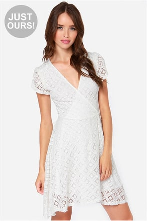 LULUS Exclusive Sweet Wrap-sody Ivory Lace Dress