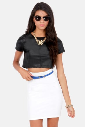 Ready To Ride Black Vegan Leather Crop Top