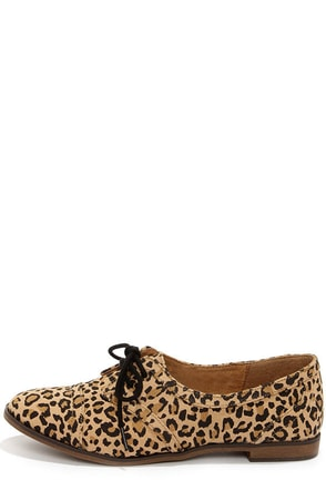 Rocket Dog Larissa Natural Leopard Print Oxford Flats