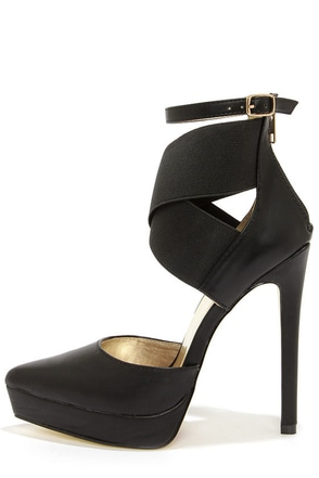 Luichiny Turn Over Black Ankle Strap Platform Pumps