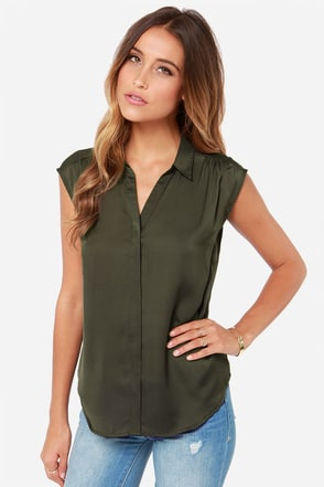 Prep It Up Olive Green Top