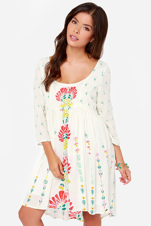 O'Neill Margaret Ivory Floral Print Dress at Lulus.com!
