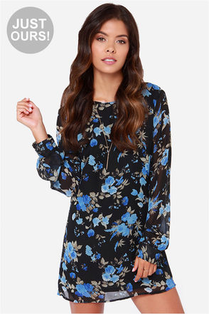 LULUS Exclusive Rose-etta Stone Black Floral Print Dress