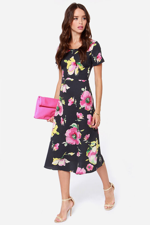 Talk of the Terrace Grey Floral Print Midi Dress