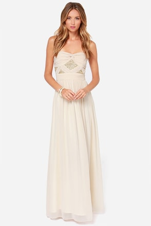 Stay Golden Strapless Light Beige Sequin Maxi Dress