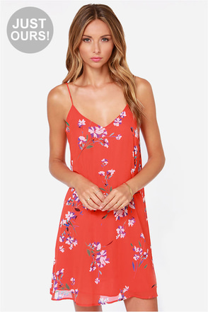 LULUS Exclusive American Floral Story Red Orange Print Dress