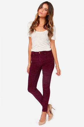 Blank NYC Juke Box Burgundy Corduroy Skinny Pants at Lulus.com!