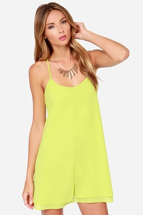 Born To Dance Chartreuse Dress at Lulus.com!