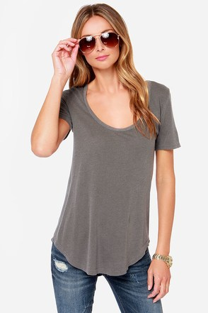 Obey Patti Washed Grey Scoop Neck Tee