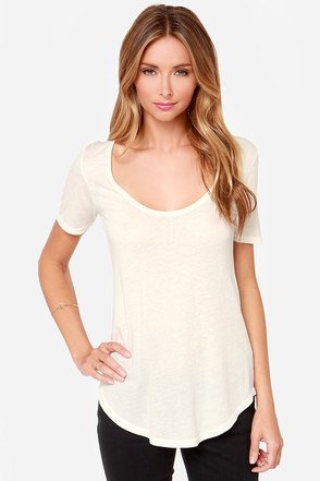 Obey Patti Cream Scoop Neck Tee