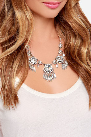 Glitz a Date Silver Rhinestone Statement Necklace