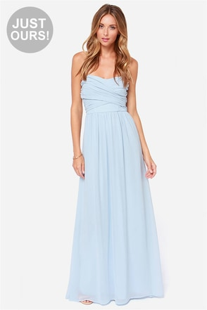 LULUS Exclusive Royal Engagement Strapless Light Blue Maxi Dress