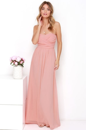 LULUS Exclusive Royal Engagement Strapless Peach Maxi Dress