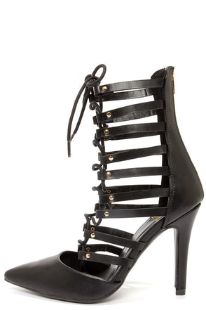 Speed Limit 98 Slope Black Lace-Up High Heel Booties at Lulus.com!