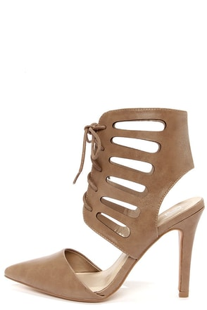 My Delicious Tremor Taupe Cutout Pointed Toe Booties