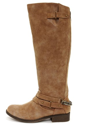 Madden Girl Caanyon Cognac Burnished Knee High Boots at Lulus.com!