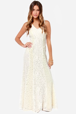 Opulent Admirer Cream Lace Maxi Dress