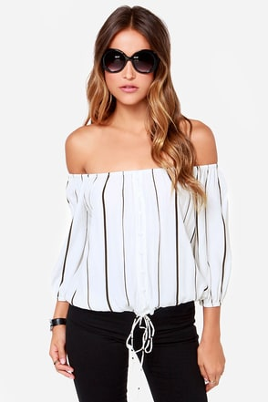 Faithfull the Brand Garden Ivory Striped Top