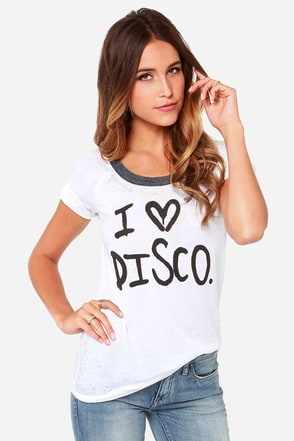 Chaser I Love Disco Distressed Ivory Tee