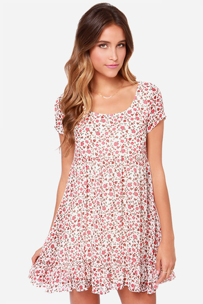 Others Follow Pacify Ivory Floral Print Dress