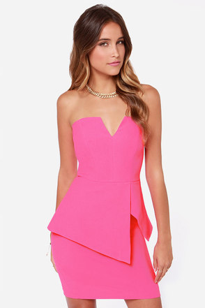 Finders Keepers Nightlight Hot Pink Strapless Dress