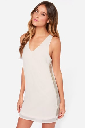 Sugar on the Side Cream Beaded Dress