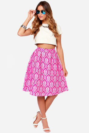 Jacquard Shark Fuchsia Jacquard Skirt at Lulus.com!
