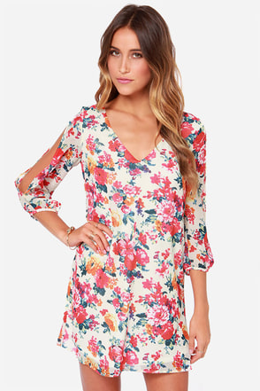Bou-Crazy About You Black Floral Print Dress