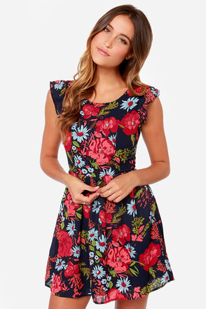 Print-cess Bride Navy Blue Floral Print Dress