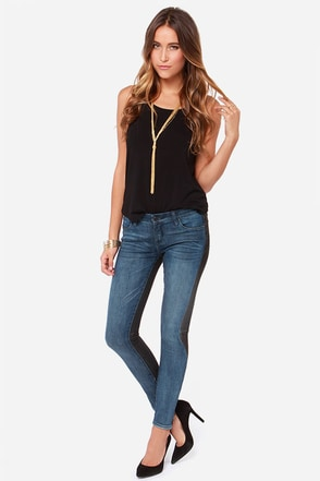 Blank NYC Two Tone Black and Blue Skinny Jeans at Lulus.com!