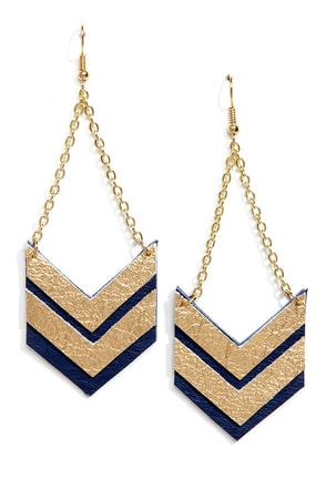 Claire Fong Quite the Pair Navy Blue and Gold Leather Earrings