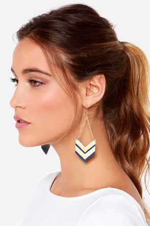 Claire Fong Quite the Pair Navy Blue and Gold Leather Earrings at Lulus.com!