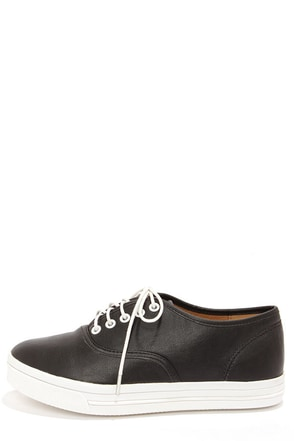Dollhouse Happy Black Vegan Leather Sneakers