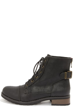 Bamboo Battle 23 Black Lace-Up Ankle Boots at Lulus.com!