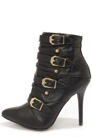 Dollhouse Heat Black Buckled Pointed Toe Booties