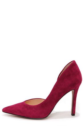 Jessica Simpson Claudette Bava Red Kid Suede D'Orsay Pumps