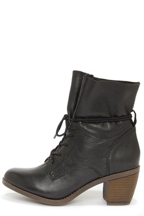 Steve Madden Gretchun Black Leather Slouchy Ankle Boots