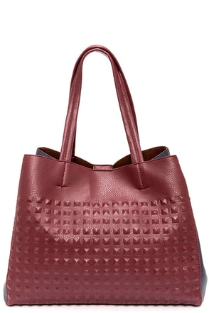 Knock 'em Dead Navy Blue and Burgundy Tote