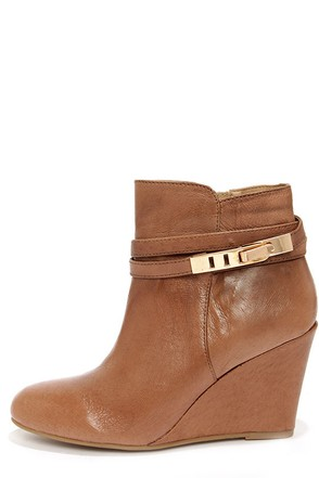 Chinese Laundry Unleash Cognac Leather Wedge Booties