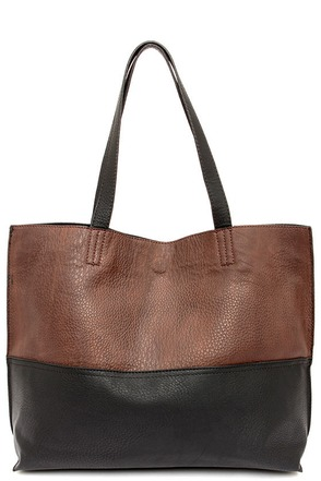 Half and Half Brown and Black Tote