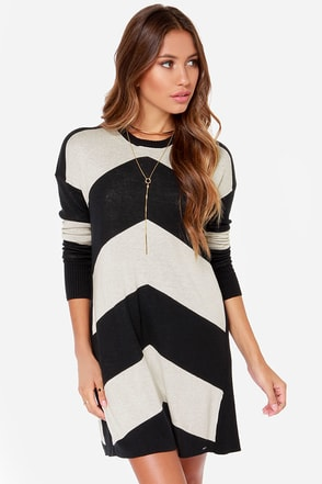 Volcom Twisted Black and Cream Striped Sweater Dress at Lulus.com!