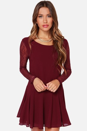Heart On My Sleeve Wine Red Dress