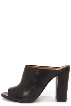 Steve Madden Lanslide Black Leather Peep Toe Mules