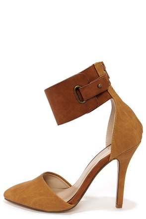 My Delicious Erna Tan Ankle Cuff Heels