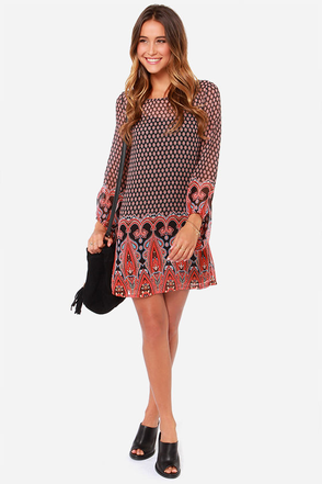 Be My Beau-hemian Black Print Dress