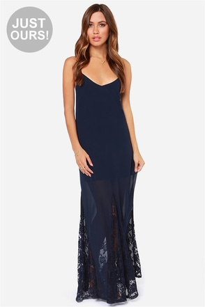 LULUS Exclusive Under The Full Swoon Navy Blue Maxi Dress