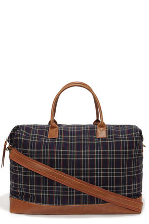 LULUS Exclusive Central Station Navy Blue Plaid Weekender Bag