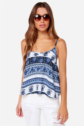 Lucy Love Capri Blue Print Tank Top